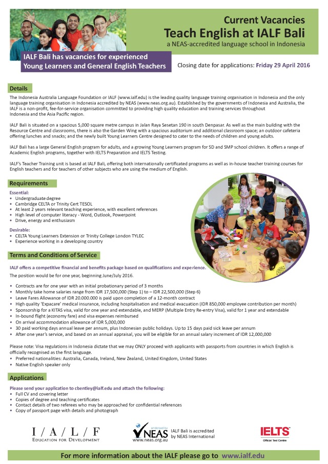 Bali Teaching Positions
